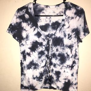 Tie dye lace up shirt